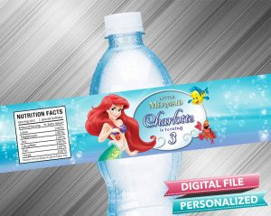 The Little Mermaid Water Bottle Label