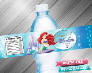 The Little Mermaid Birthday Water Bottle Label
