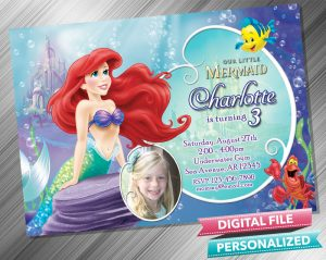 The Little Mermaid Ariel Invitation with picture