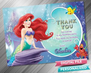 The Little Mermaid Ariel Thank you Card