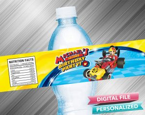 Mickey and the Roadster Racers Water Bottle Label