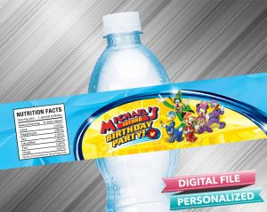 Mickey and the Roadster Racers Birthday Water Bottle Label