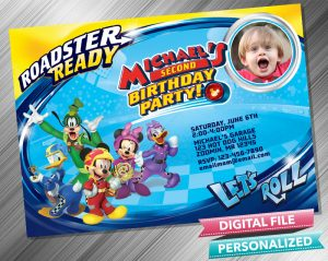 Mickey and the Roadster Racers Birthday Invitation with picture