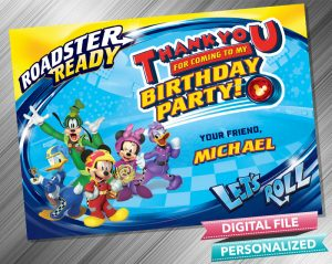 Mickey and the Roadster Racers Birthday Thank you Card