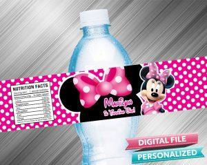 Minnie Water Bottle Label