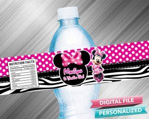 Minnie Birthday Water Bottle Label