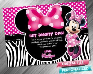 Minnie Birthday Thank you Card