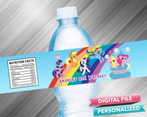 My Little Pony Birthday Water Bottle Label