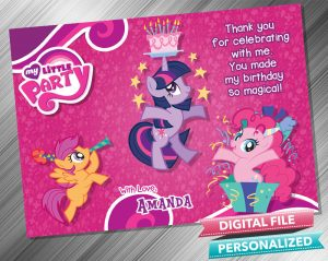 My Little Pony Birthday Thank you Card