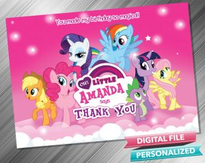 My Little Pony Birthday Party Thank you Card