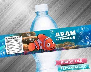 Finding Nemo Birthday Water Bottle Label