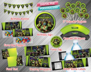 Ninja Turtle Printable Birthday Package