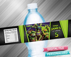 Ninja Turtle Water Bottle Label