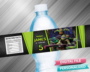 Ninja Turtle Birthday Water Bottle Label