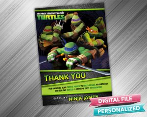Ninja Turtle Thank you Card