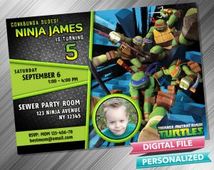Teenage Mutant Ninja Turtles Invitation with picture