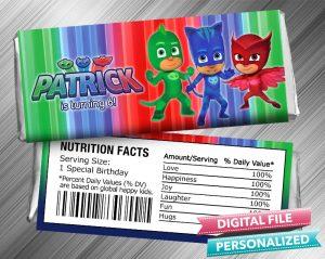 PJ Masks Hershey Candy Bar Wrapper