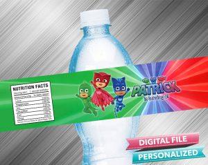 PJ Masks Birthday Water Bottle Label