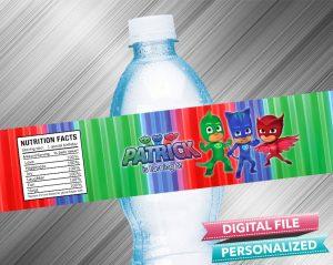 PJ Masks Water Bottle Label