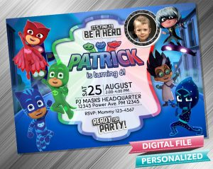 PJ Masks Invitation with picture