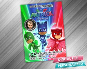 PJ Masks Birthday Invitation with picture