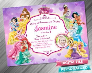 Disney Princess Palace Pets Invitation with picture
