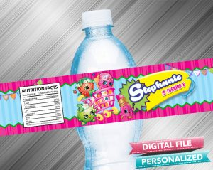 Shopkins Birthday Water Bottle Label
