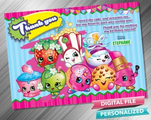 Shopkins Birthday Party Thank you Card