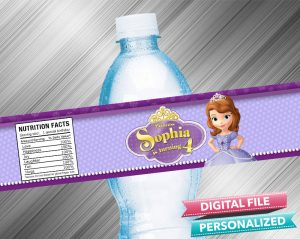 Sofia the First Water Bottle Label