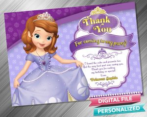 Sofia the First Thank you Card