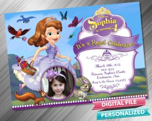 Sofia the First Birthday Invitation with picture