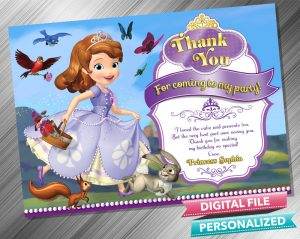 Sofia the First Birthday Thank you Card