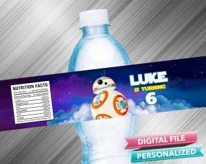 Star Wars RD2 Birthday Water Bottle Label