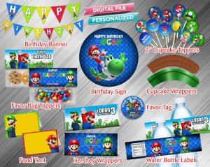 Super Mario Printable Birthday Package