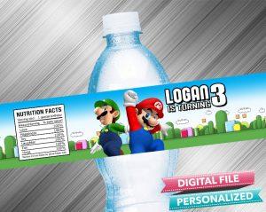 Super Mario Birthday Water Bottle Label