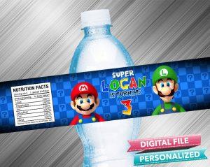 Super Mario Water Bottle Label