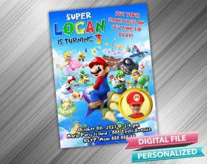 Super Mario Invitation with picture