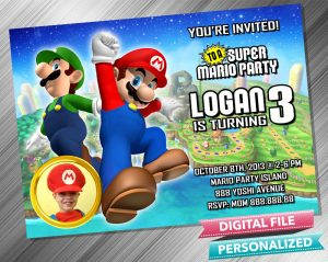 Mario and Luigi Invitation with picture