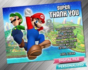 Mario and Luigi Thank you Card