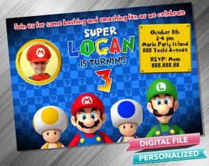 Super Mario Birthday Invitation with picture