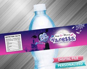 Vampirina Birthday Water Bottle Label