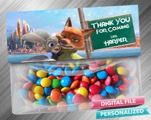 Zootopia Favor Bag Toppers