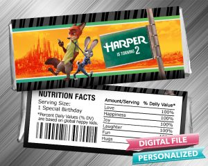 Zootopia Hershey Candy Bar Wrapper