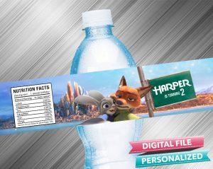 Zootopia Water Bottle Label
