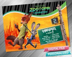 Zootropolis Judy Hopps and Nick Wilde Invitation