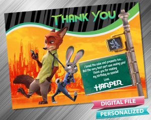 Zootropolis Judy Hopps and Nick Wilde Thank you Card