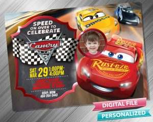 Cars Chalk Style Invitation with picture