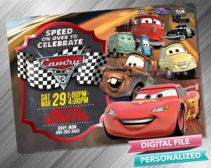 Cars Lighting McQueen and Mater Birthday Chalk Style Invitation