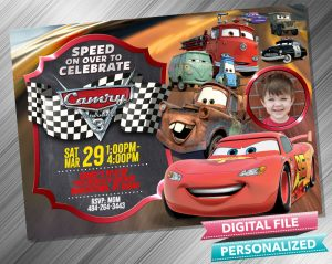 Cars Lighting McQueen and Mater Birthday Chalk Style Invitation with picture