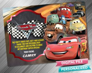 Cars Lighting McQueen and Mater Birthday Chalk Style Thank you Card